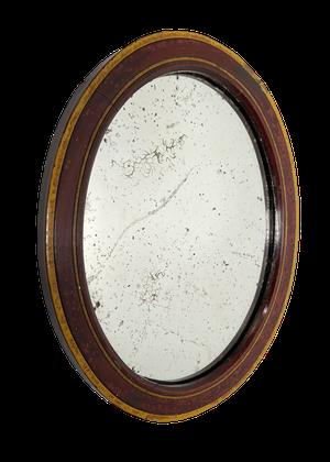 George III Oval Painted Gesso Framed Mirror