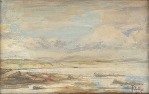 Watercolour on Paper in Original Satinwood Frame of a Deserted Shoreline, Signed C Phillips