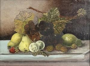 Edwardian Oil on Card Still Life of Fruit Mounted in an Oak Frame