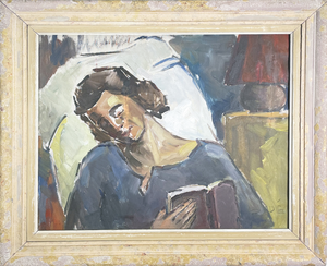 Oil on Canvas Unfinished Portrait of Woman Resting with Opened Book, signed Bade