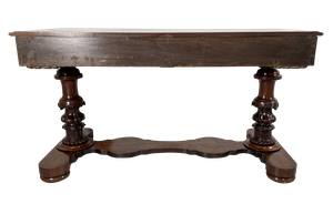 Victorian Mahogany Library Table with Two Drawers on Two Carved Baluster Supports