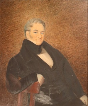 William IV Oil on Card Portrait of a Gentleman in a Carved Gilt Frame