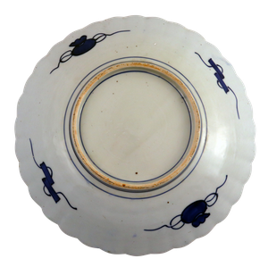 Meiji Period Scallop Edged Imari Plate Decorated with Floral Border