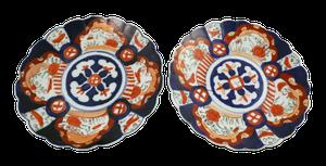 Pair of Meiji Period Scallop Edged Hand Decorated Imari Plates