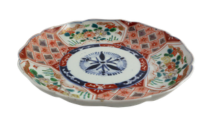Lotus Shaped Meiji Period Imari Plate Decorated with Three Panels of Anemones