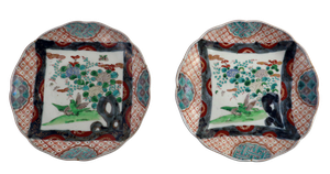 Pair of Meiji Period Scallop Edged Imari Plates Hand Painted with Central Panels of Imperial Songbirds