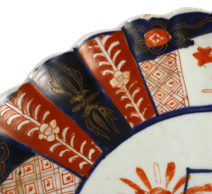 Meiji Period Scallop Edged Imari Plate with Hand Painted Chrysanthemums