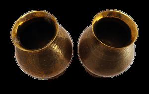 Pair of Engraved Brass Kashmiri Lidded Jars
