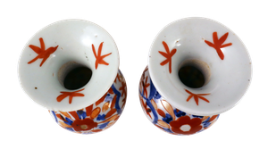 Near Pair of Meiji Period Kutani Hand Decorated Vases