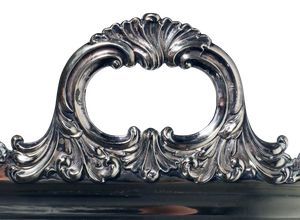 Heavy Gauge Early Sheffield Plated Tray Engraved with Flowers and Foliage and a Dedication to Service