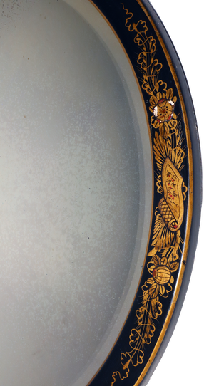 Chinoiserie Framed Round Mirror with Original Bevelled Plate