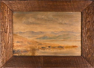 Oil on Board of Landscape with Lakes