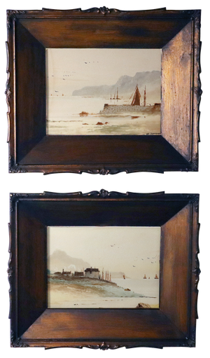Pair of Tole Framed Watercolours on Paper of North Yorkshire Seascapes