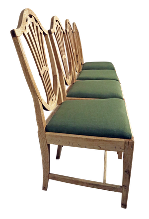 Set of Four Edwardian Stripped Oak Hepplewhite Style Dining Chairs with Newly Covered Seats
