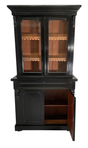 Victorian Ebonised Bookcase with Glazed Upper Section and a Single Drawer and Flanked with Four Carved Scrolled Corbells
