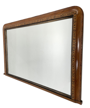 Walnut Venerred Overmantle Mirror with Inlaid Border