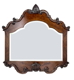 Walnut and Mahogany Mirror with Carved Scrolling and Shell Decoration