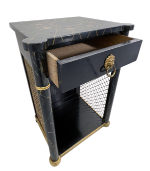 Painted and Ebonsied Nightstand with Brass Diamond Mesh Sides and Fitted with a Single Drawer with Lion Mask Ring Handle