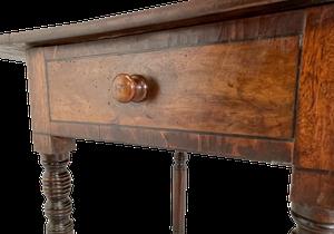 William IV Small Mahogany Drop Leaf Pembroke Table on Ring Turned Legs