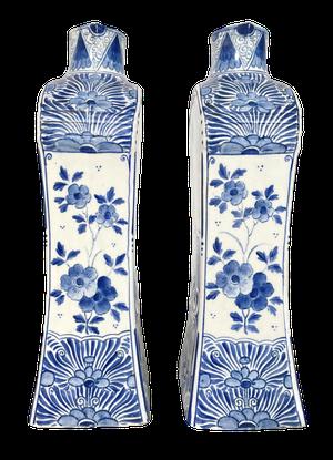Pair of Villroy and Boch Mettlach Delft Flasks