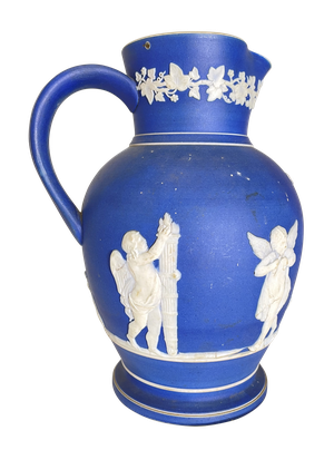 Blue Jasperware Jug Adorned with Cherubs and Foliate Garland