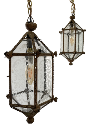 Pair of Hexagonal Gilt Metal Framed Lanterns with Etched Glass Panels