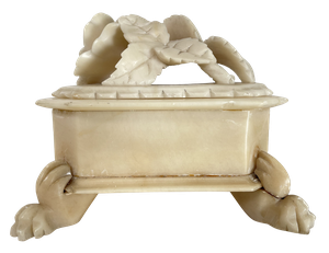 Alabaster Lidded Trinket Box Decorated with a Rose and raised on Lion Paw Feet