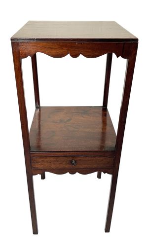 Two Tier Mahogany Nightstand with Single Drawer