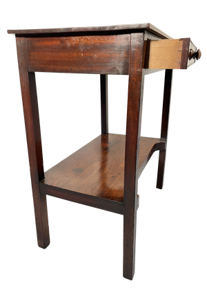 Mahogany Side Table with Single Drawer and Lower Shelf