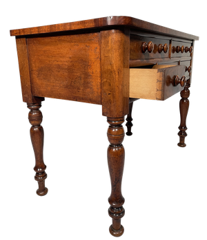 Early Victorian Kneehole Writing Table on Turned Legs with Four Drawers with Turned Conical Handles