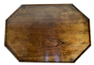 Galleried Walnut Hexagonal Topped Table on Pedestal Base with Four Curved Outswept Mahogany Legs