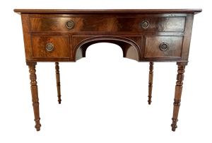 George III Mahogany Arched Kneehole Desk with Single Top and Two Lower Drawers Raised on Ring Turned Legs