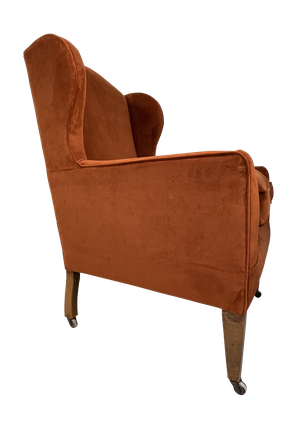 George III Velvet Upholstered Wingback Armchair on Square Tapering Mahogany Legs