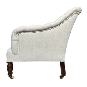 Victorian Armchair with Buttoned Scrolled Back and Sides Upholstered in Antique French Hemp Linen
