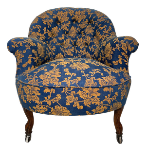 Small Napoleon III Buttoned Tub Chair on Short Cabriole Legs Upholstered in Vintage Floral Fabric