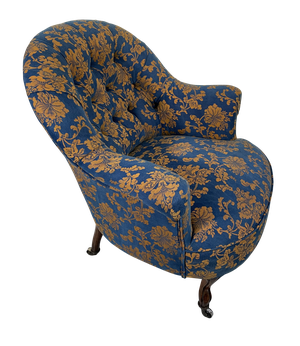 Napoleon III Buttoned Tub Chair on Short Cabriole Legs Upholstered in Vintage Floral Fabric