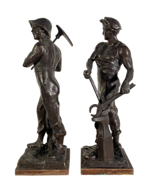 Pair of Bronzed Spelter Figures of a Blacksmith and Miner