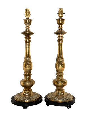Pair of Turned Brass Candlestick Table Lamps on Ebonised Wooden Bases
