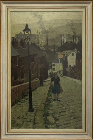 Large Oil on Canvas of a Figure in an Industrial Street Scene Inscribed Verso as Sheffield