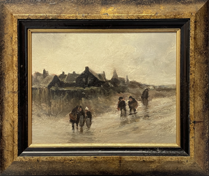 Pair of Oil on Boards with Figures in Rainy Street Scenes