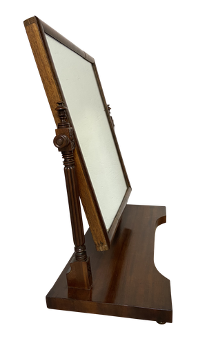 Mahogany Toilet Mirror with Reeded Column Supports
