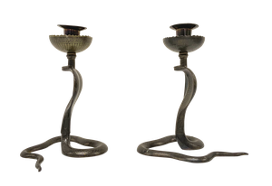 Pair of Embossed Brass Cobra Candlesticks
