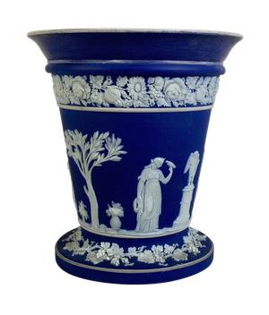 Wedgwood Jasperware Vase Decorated with Classical Maidens and Floral Garlands