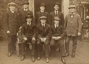 Oak Framed Black and White Photograph of Suited and Booted Group of Men in their Sunday Best