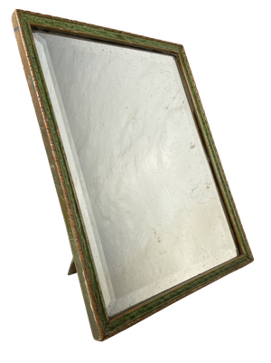 Small Table Top Bevelled Dressing Mirror with Faux Painted Shagreen and Gilt Frame