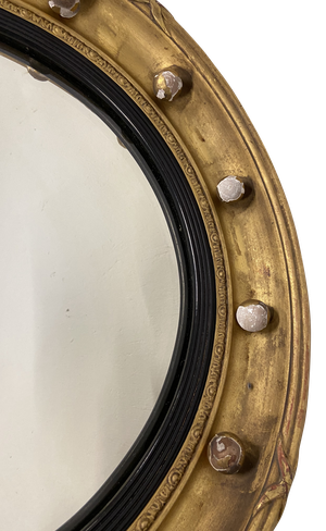 Regency Gilt Round Convex Mirror Decorated with Ribbons and Spheres