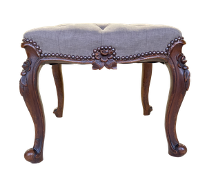 Carved Walnut Upholstered Deep Buttoned Footstool on Cabriole Legs