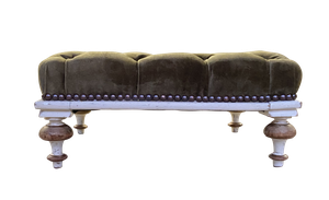Upholstered Deep Buttoned Footstool with Old Paint