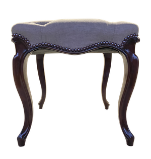 Mahogany Upholstered Deep Buttoned Footstool on Cabriole Legs