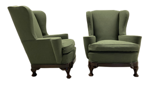 Pair of Wingback Armchairs on Mahogany Cabriole Legs